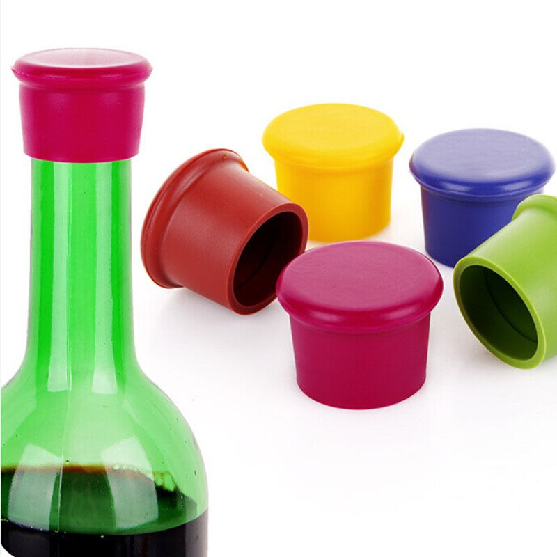 Silicona vino cerveza tapa tapón bebida sellador reutilizable silicona rojo botella tapa enchufe barra herramienta