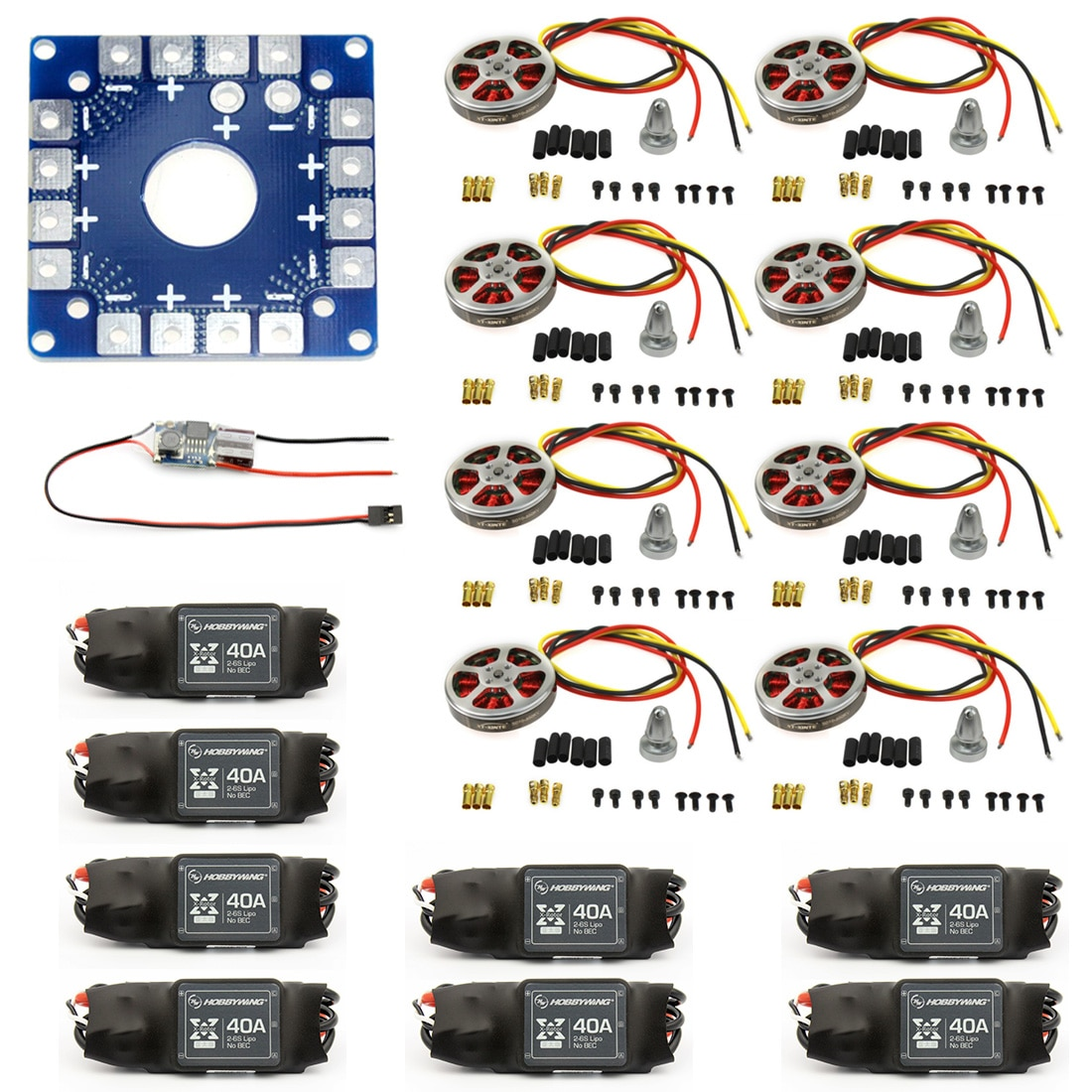 8 juegos de Motor de disco sin escobillas de 350KV de alto empuje con montaje + xt-xinte 40A ESC para 3-6s Octacopter Multi Rotor accesorio F05423-B