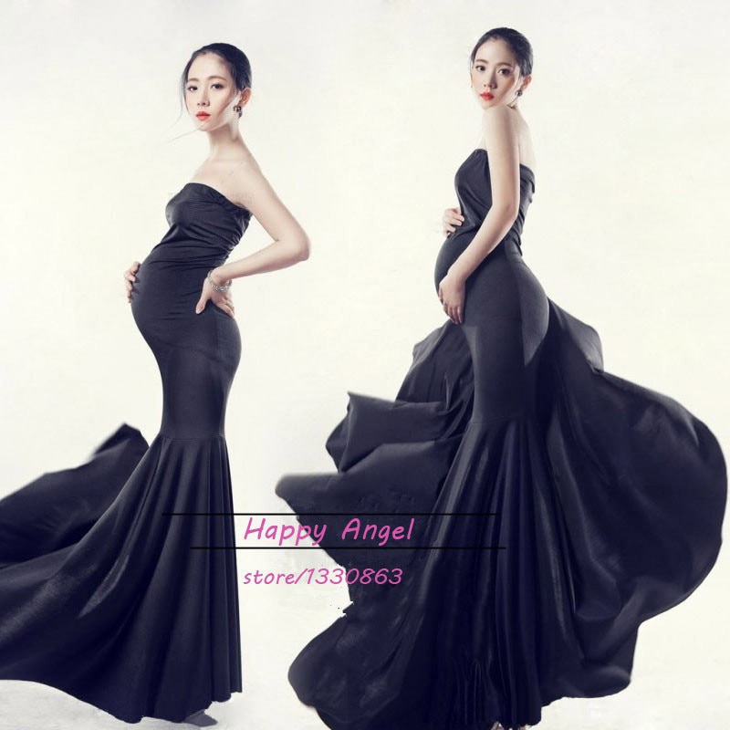 New Maternity Photography Props clothing for pregnant women Mermaid Dress Pregnancy black Romantic set Princess Free shipping enlarge