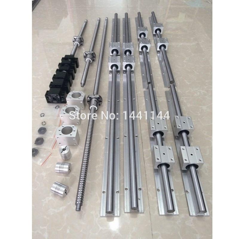 6 مجموعات دليل خطي السكك الحديدية SBR16 - 400/600/1000 مللي متر + SFU1605- 450/650/1050 مللي متر الكرة المسمار + BK/BF12 + الجوز الإسكان + مقرنة نك أجزاء