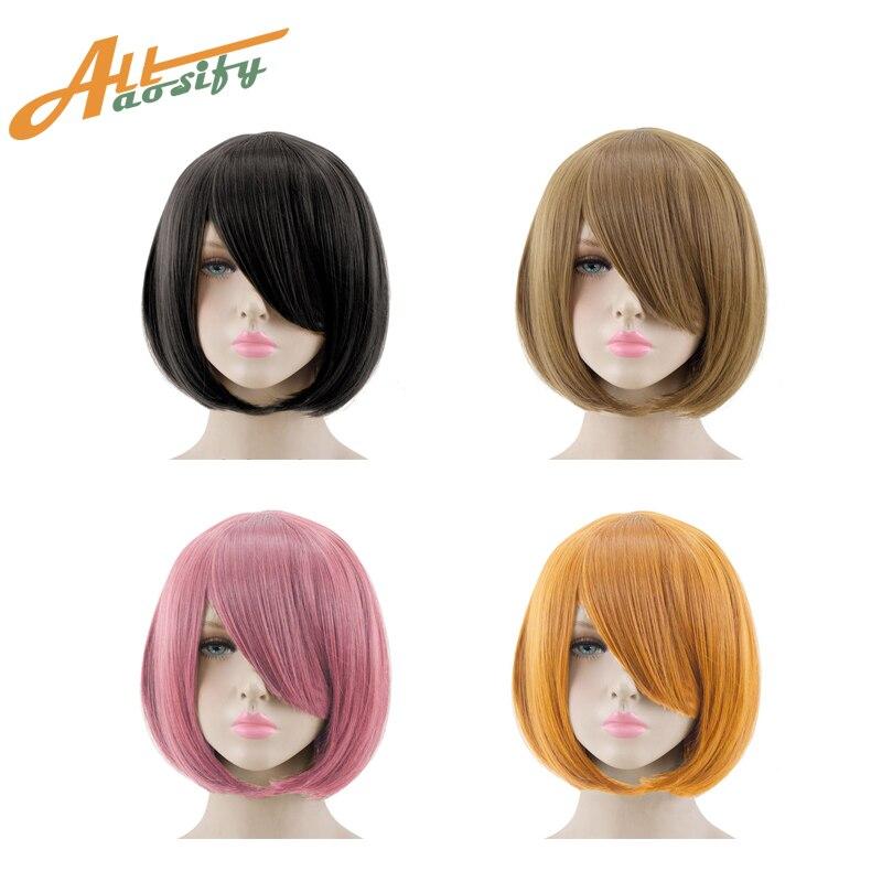Allaosify cosplay peruca 23 cores 14 polegadas sintético de alta qualidade em linha reta bob rosa vermelho preto marrom cabelo feminino para cosplay festa