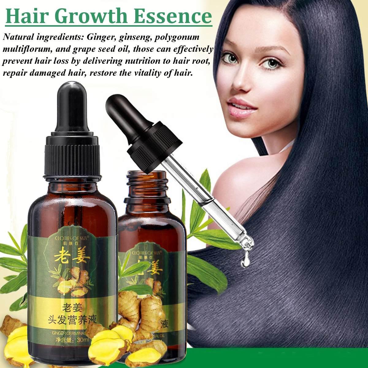 Offres spéciales unisexe Anti perte de cheveux traitement sérum gingembre extrait repousse des cheveux bio barbe huile en croissance hommes femmes soin des cheveux