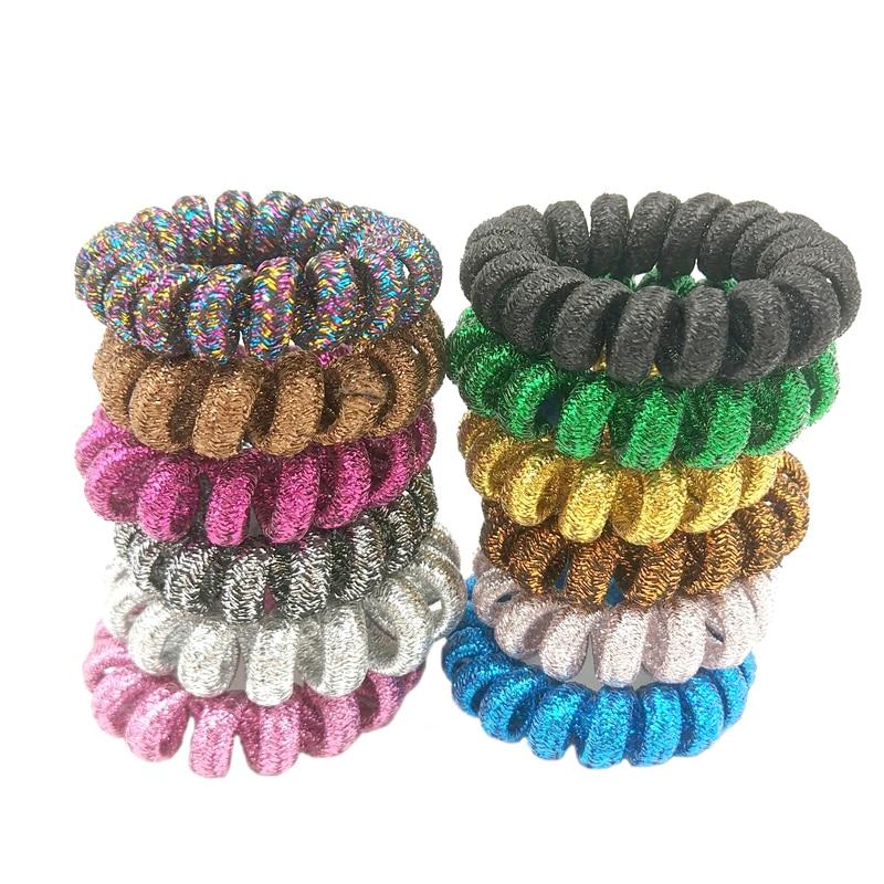 5 Pcs/Lot Random Color Telephone Wire Line Cord Traceless Wrap Fabric Hair Ring Elastic Hair Band Girl Hair Scrunchy Size 4 CM