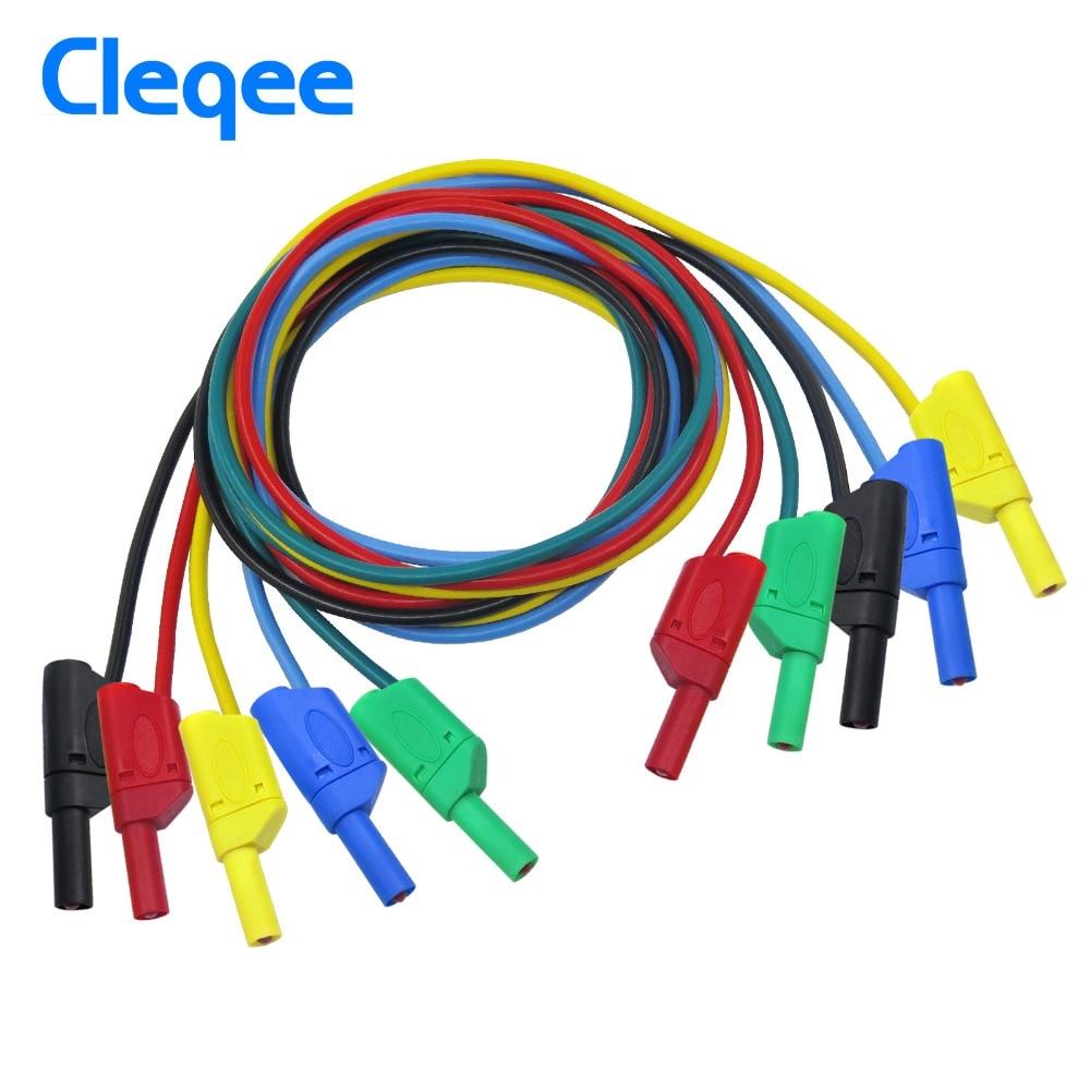 Cleqee P1050 1M 4mm conector Banana a Banana Cable de prueba suave RV para multímetro 5 colores