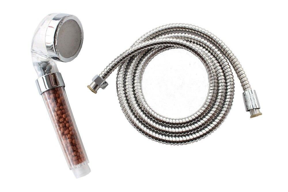 Ducha de baño con anión LED de 3 colores, ahorro de agua + manguera de ducha a prueba de explosiones de acero inoxidable de 1,5 m