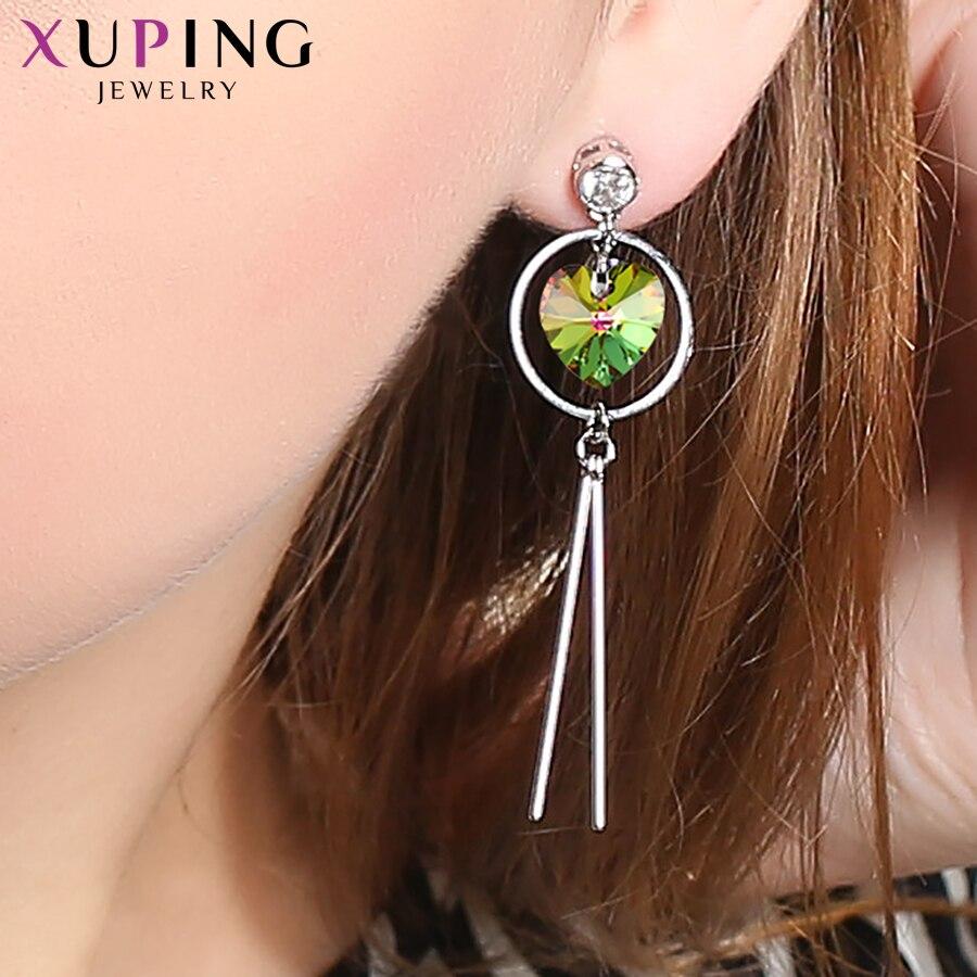 11.11 Xuping Sweet Heart Dangle Earrings for Ladies Crystals from Swarovski Hypoallergenic Sweet Little Fresh JewelryS150-20552