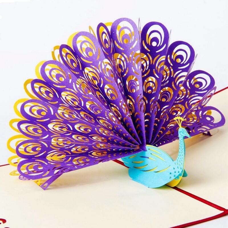 Tarjeta de felicitación 3D Pavo Real Pop Up cumpleaños Pascua aniversario Día de la madre gracias tarjeta de felicitación postal 3 unids/lote