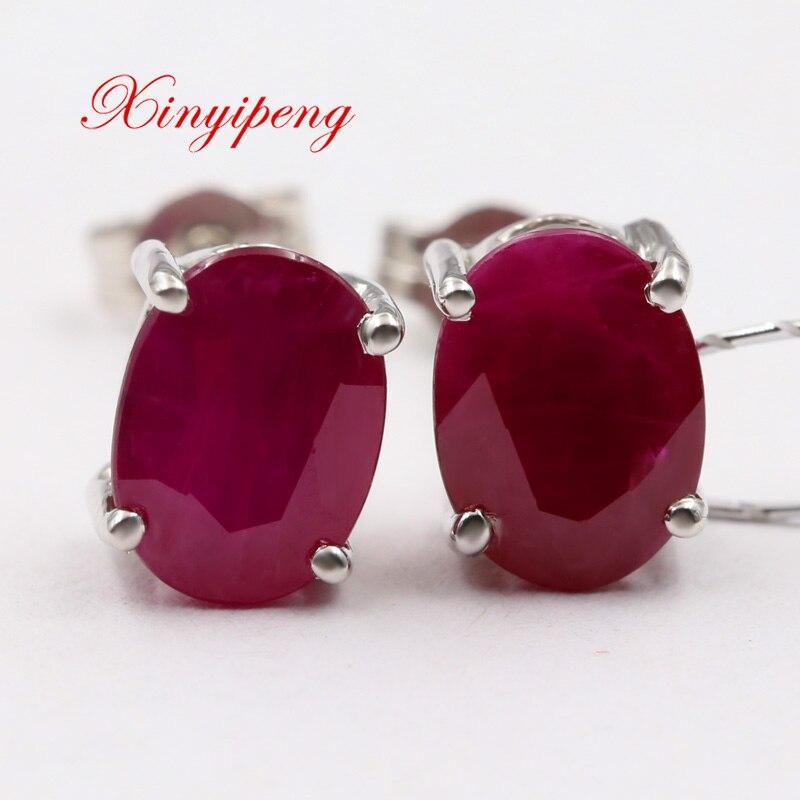 Xin yi peng 18 k white gold inlaid natural ruby stud earrings, women earrings, classic generous
