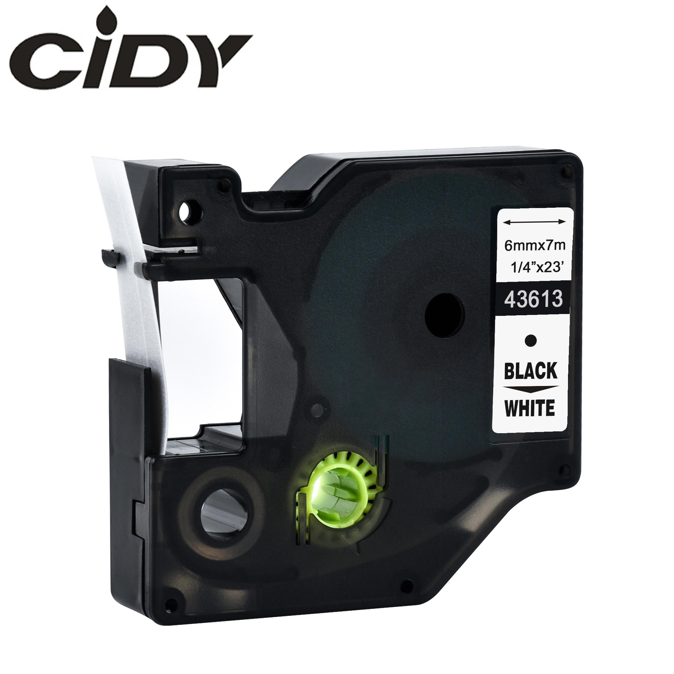 CIDY 1 Uds DYMO compatible D1 6 cinta de etiquetas mm 43613, 43610, 43618, negro sobre blanco, cintas para etiquetas para Administrador de etiquetas DYMO 160, 280, 210