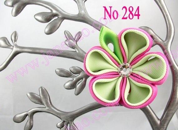 free shipping Ribbon flower clips 160pcs kanzashi flower hair clips badge reel hair clips holder