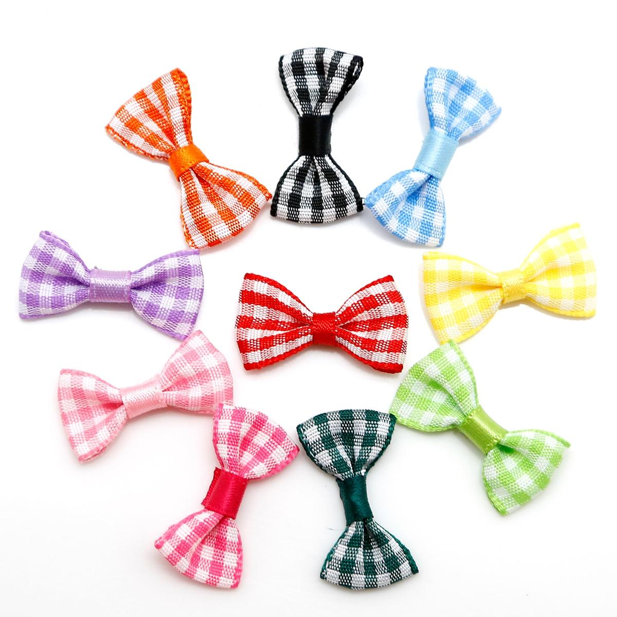 25/50pcs 3x1.5cm Multi Color Stripe Ribbon Bow Grosgrain Mini Ribbon Bows Girl Hair Decoration Wedding Craft Sewing Decoration