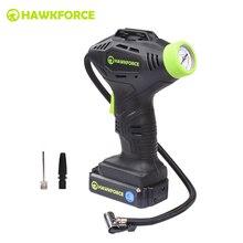 Compresor de aire recargable de 18V HAWKFORCE, inflador de neumáticos inalámbrico, bomba portátil, luz LED con manómetro, aguja de bola, boquilla de juguete