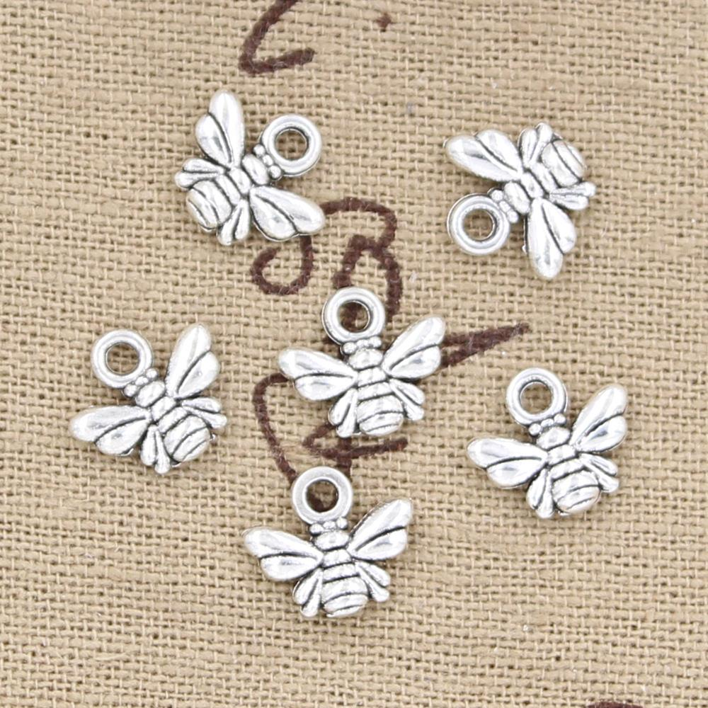 100pcs Charms Bee 10x11mm Antique Bronze Silver Color Plated Pendants Making DIY Handmade Tibetan Jewelry