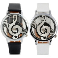 Unique Woman Quartz Analog Hollow Musical Note Style leather WristWatch fashion ladies Gfit Casual w