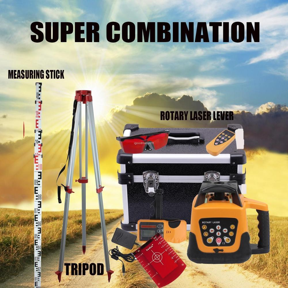 Yonntech 360 degree 500m Self-leveling Rotary Laser Level+1.65M Tripod+5M Measuring stick Red Beam
