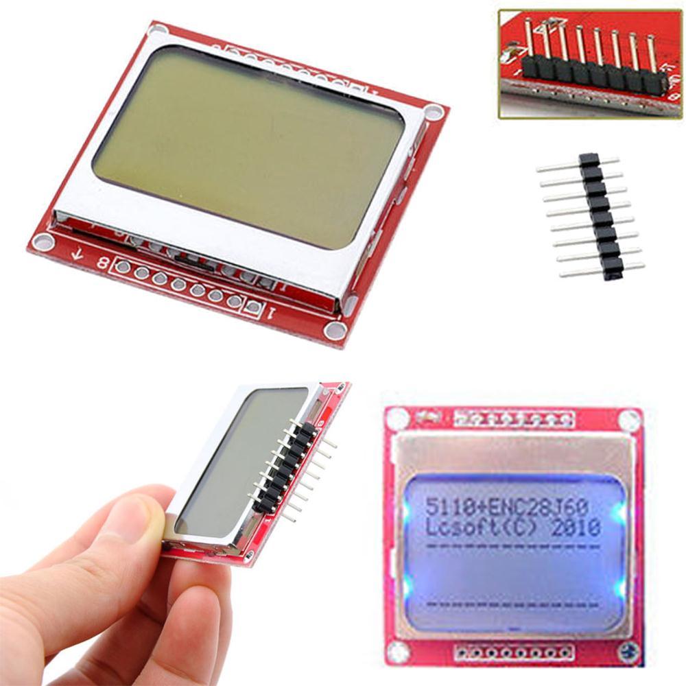 Electrónica Inteligente LCD módulo Monitor de pantalla en blanco adaptador de contraluz PCB 84*48 84x84 x protectores de pantalla Nokia 5110 para Arduino