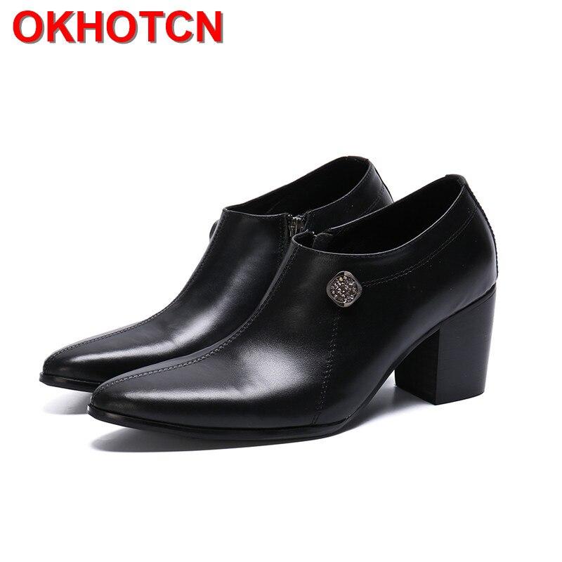 حذاء إيطالي بكعب عالٍ بسحاب جانبي ، حذاء أكسفورد بنعل سميك مرصع بأحجار الراين ، مقاسات كبيرة