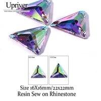 upriver new triangleresin sew on rhinestone crystal ab flatback with holes sewe on stone for dress garmentbag shoes decoration