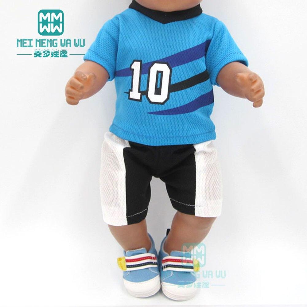 Puppe kleidung für 43cm spielzeug neue geboren puppe zubehör blau player baby kleidung