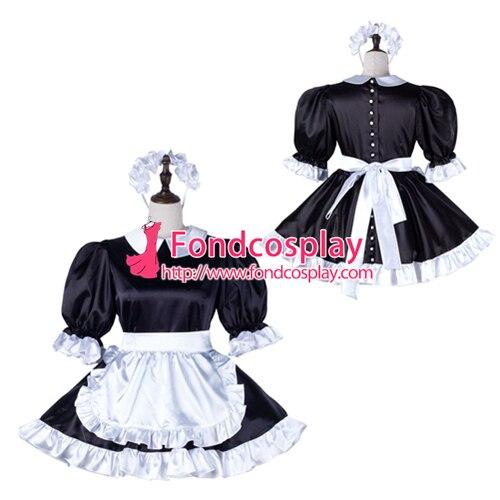 Sissy maid satin dress lockable Uniform cosplay costume Tailor-made[G2234]