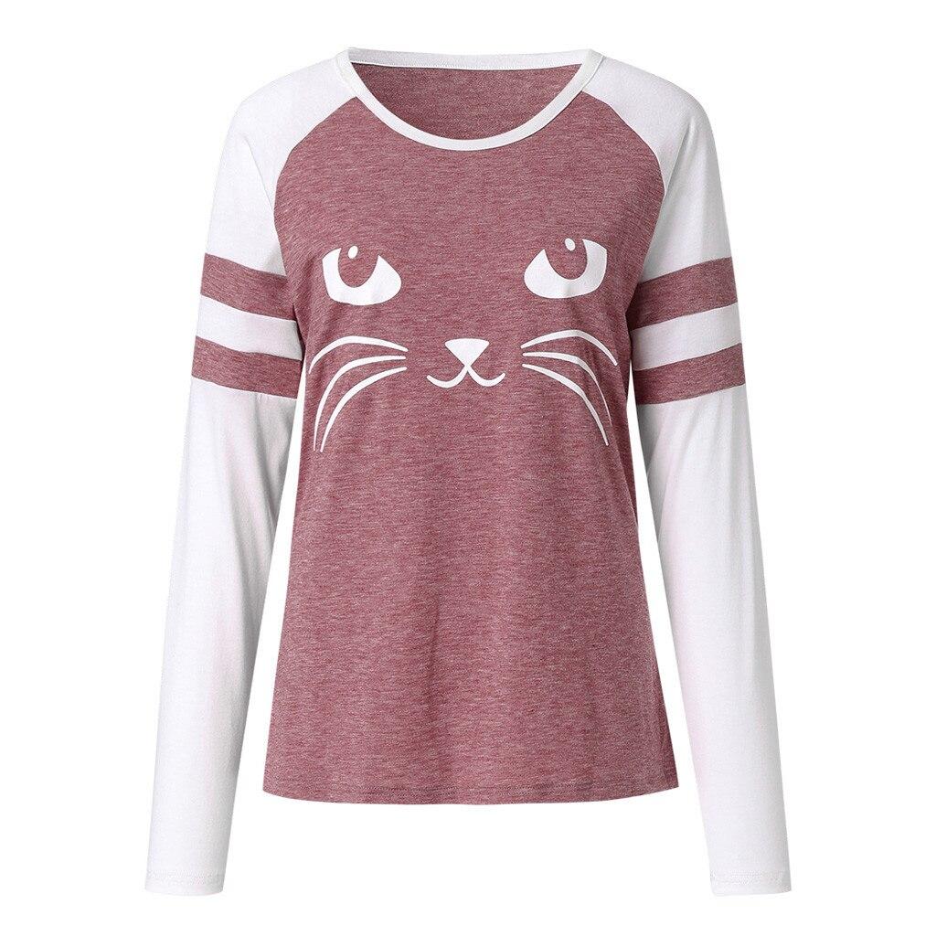 Camisa de t das meninas das meninas das roupas mais vendidos primavera jovem moda fêmea crescimento bonito gato impressão camiseta seis cores xl