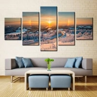 5 panels hot sell snow mountain modern home wall decor painting canvas landscape art hd print painting frameless wholesale