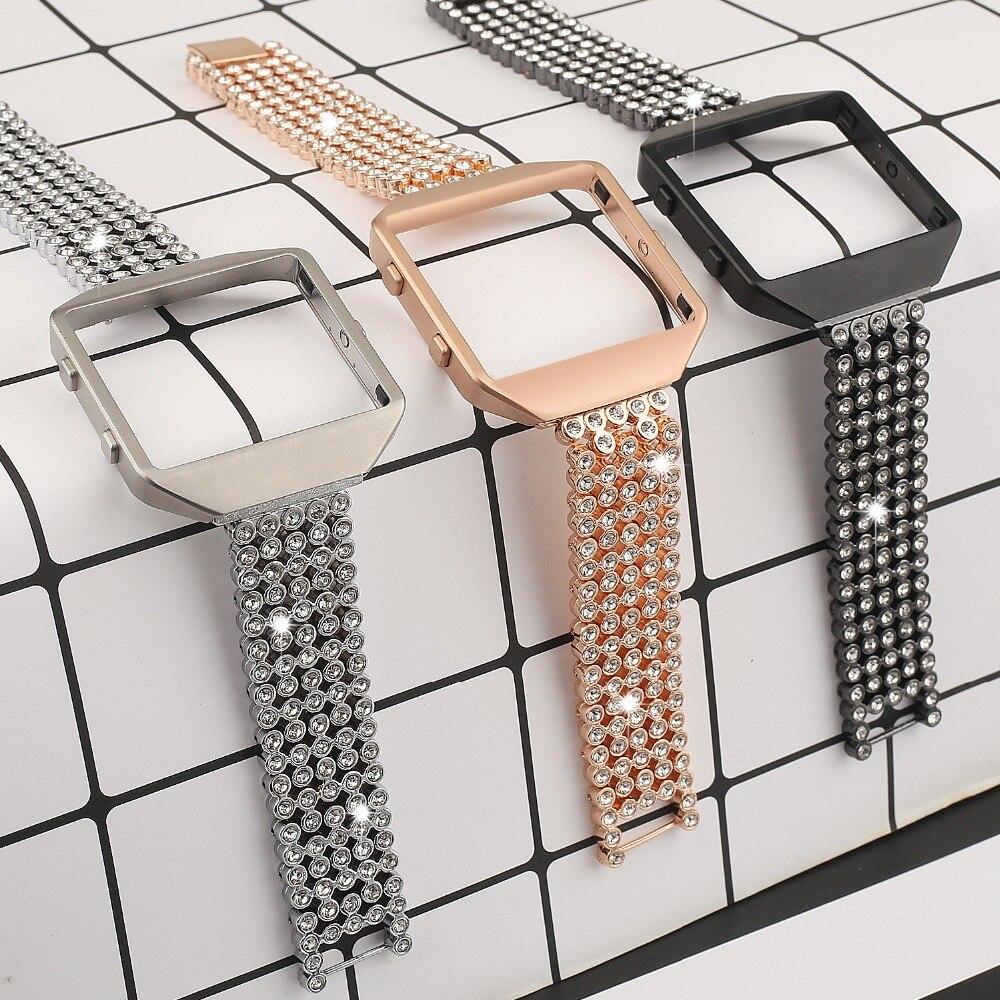 Para bandas de Fitbit Blaze, bandas de Metal con marco de acero inoxidable de diamantes de imitación reemplazo accesorio pulsera plata oro rosa