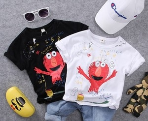 90-140cm height only t shirt 1pc new 2019 summer boys cartoon t shirt boys fashion style summer t shirt kids summer clothing
