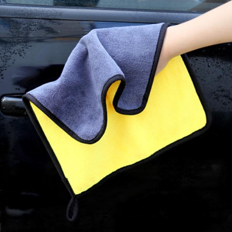 800GSM 30x3 0/40/60CM Toalla de lavado de coches de microfibra suave paño de limpieza de coche Hemming paño de cuidado para coche lavar toalla súper grueso