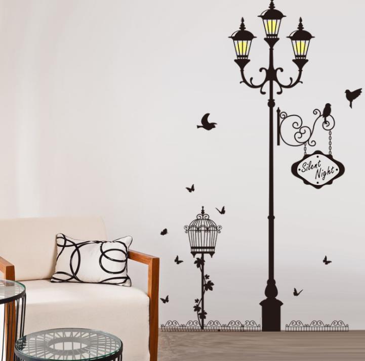 Adhesivo para pared de lámpara farola pegatinas decoración de pared del sofá vinilo pegatina extraíble para pared Mural papel tapiz DIY decoración del hogar