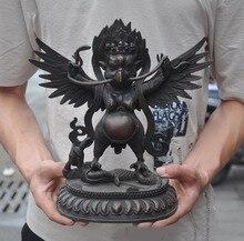 Decoración de boda antiguo templo budista del Tíbet bronce Redpoll alado Ave Garuda águila estatua de Buda