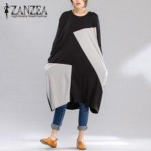 ZANZEA 2020 Autumn Women Fashion Crew Neck Spell Color Dresses Long Sleeve Patchwork Oversized Casual Loose Retro Party Vestidos