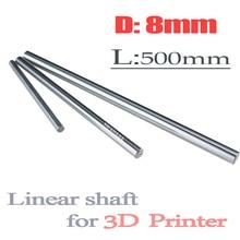 2 stks/partij HOT OD 8mm x 500mm Cilinder Liner Rail Lineaire Shaft Optische As chrome Voor 3D Printer accessoire
