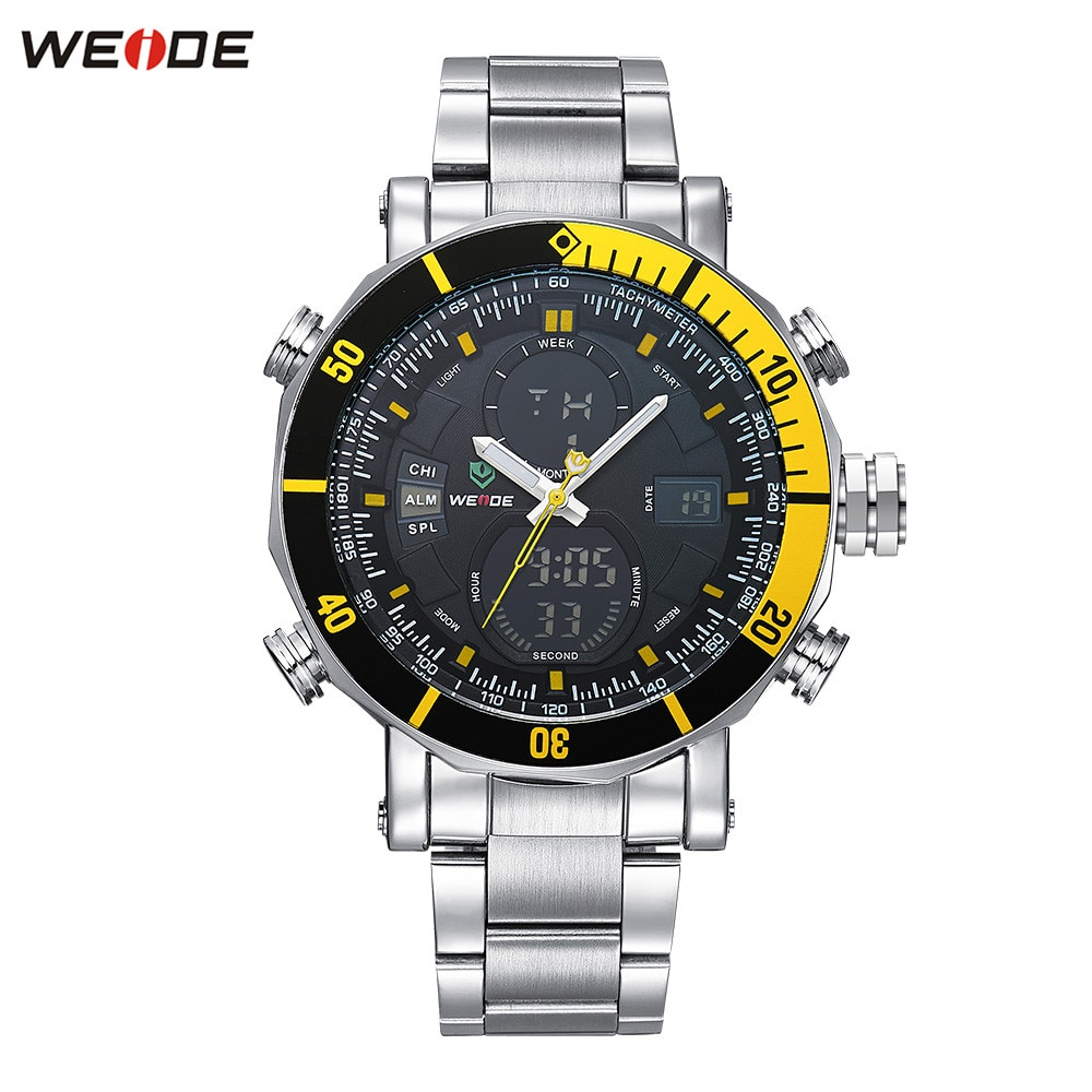 Original Brand WEIDE Waterproof Sport Watch Men Digital Quartz Watch LED Yellow Dial Steel Strap Military Wristwatches Relogios
