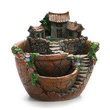 Flores artificiales plantas suculentas Mini Jardín de hadas con casa dulce para Decoración
