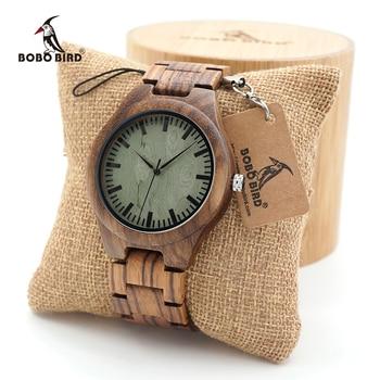 BOBO BIRD Mens zebra Wooden Watches Wood Links Causal Quartz Wrist Watch in Gift case custom logo