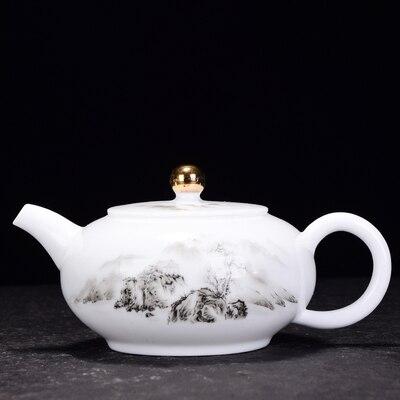 Dehua White Porcelain Teapot Sheep Fat Jade Kungfu Jin Jun Mei Tea Set Enamel  Ceramic Household Small Pot Teaware Free Shipping
