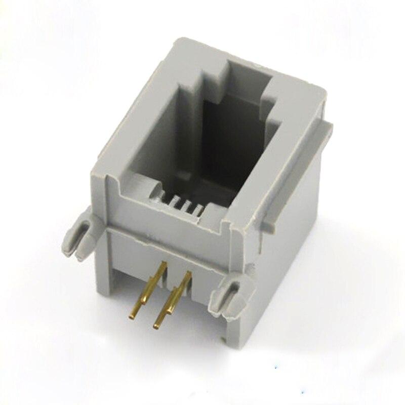 50 Uds Rj11 conector cristal toma para cabezal 616pcb-4p4c gris grueso para teléfono micrófono toma de cable adaptador