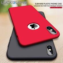 LuckGuard Dur étui pour téléphone mat Pour iPhone XS MAX XR Mince de Luxe étuis pour iPhone 5 SE 6 6 s 7 8 Plus X Logo Accessoires De Couverture