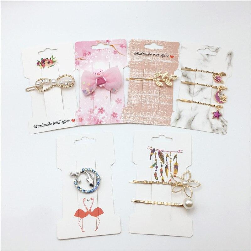 Envío Gratis 50 piezas de joyería de moda Clip para el cabello Tarjeta de papel de embalaje varias especificaciones tarjetas de exhibición de horquilla Kraft