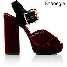 New Korean Style Velvet Women Platform High Heels Gladiator Sandals Crossing Belt Women Chunky High Heel shoes Party Pumps
