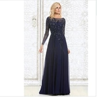 new arrival formal long evening dresses 2019 navy blue lace crystals mother of the bride dresses long sleeve party evening gowns