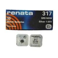 5pcs renata 317 sr516sw silver oxide watch battery sr62 d317 v317 batteries support drop shipping
