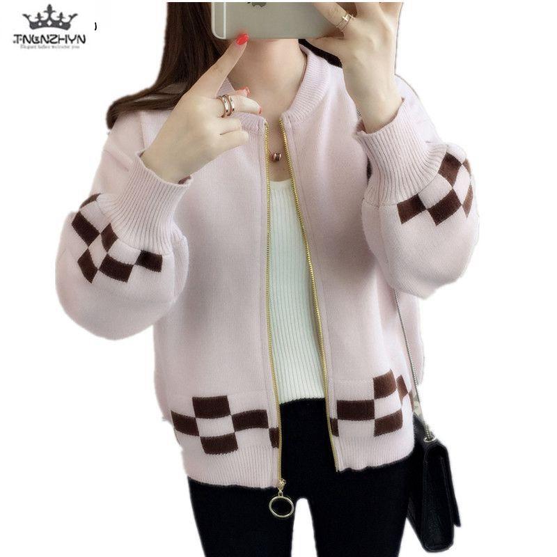TNLNZHYN invierno nueva mujer ropa suéter abrigo moda suelta gran tamaño de manga larga Casual cárdigan corto Mujer suéter QW12