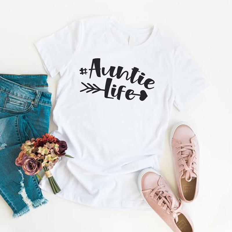 Tia vida camiseta casual feminino gráfico engraçado t topo verão senhora tumblr hipster tshirt tia presente de aniversário camisa melhor tia nunca