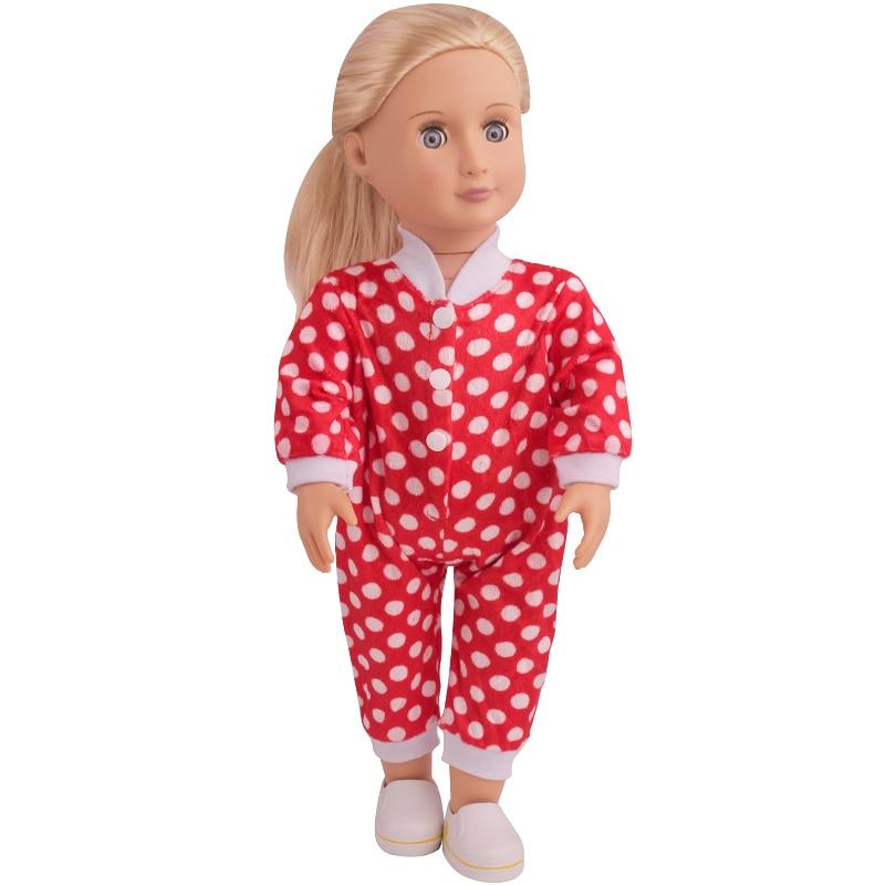 Ropa de muñeca de 18 pulgadas para niñas, mono de polka roja, pijama, nuevo vestido americano, juguetes para bebés de 43 cm muñecas del bebé c5