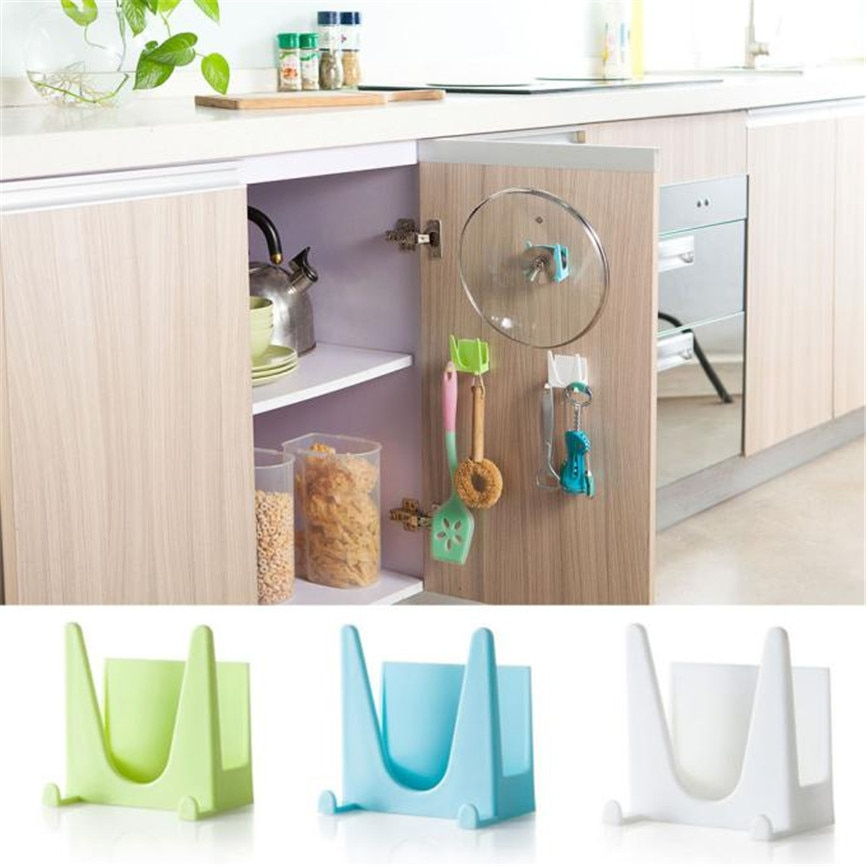 Wall Housekeeper Plastic Kitchen Pot Pan Cover Shell Cover Sucker Tool Bracket Storage Organizer Rack Hanger Dropshipping #6