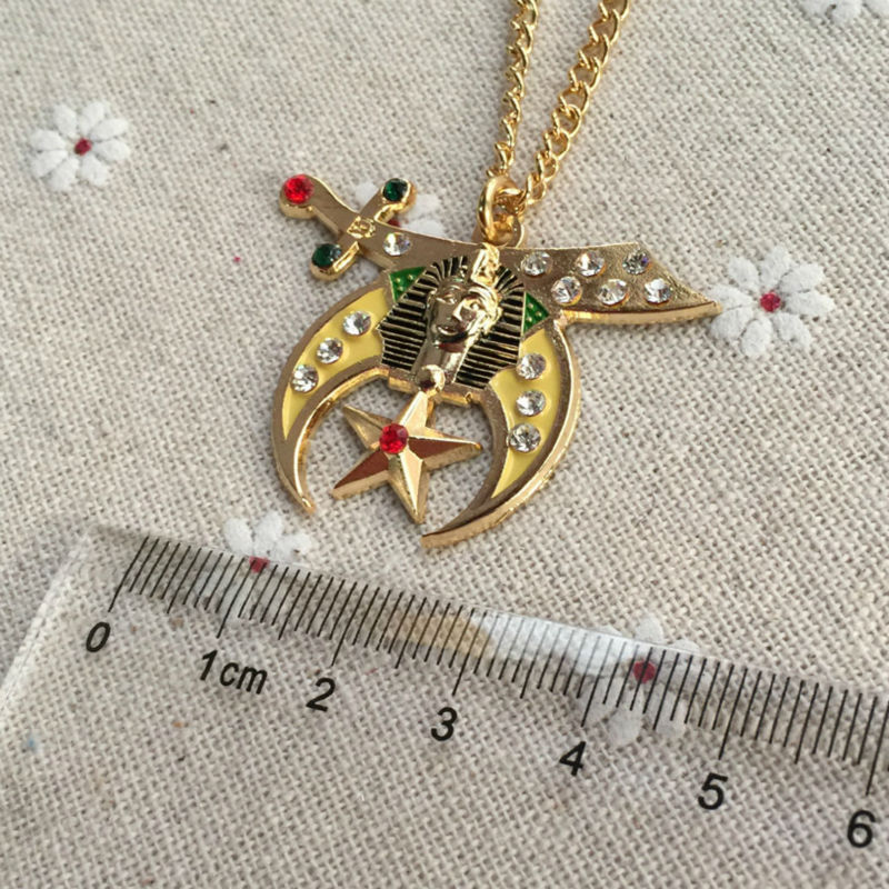 1pcs Zinc alloy Freemason Masonic Freemasonry Metal Crafts Gifts Enamel Necklace Pendant Shriners Rehinstone Jewel Pendant