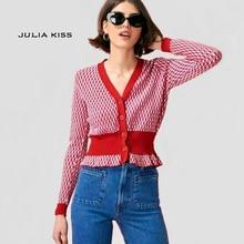 Femmes col en v contraste losange motif ouvert-tricot pull bouton Throng chandail Vintage tricot Cardigans