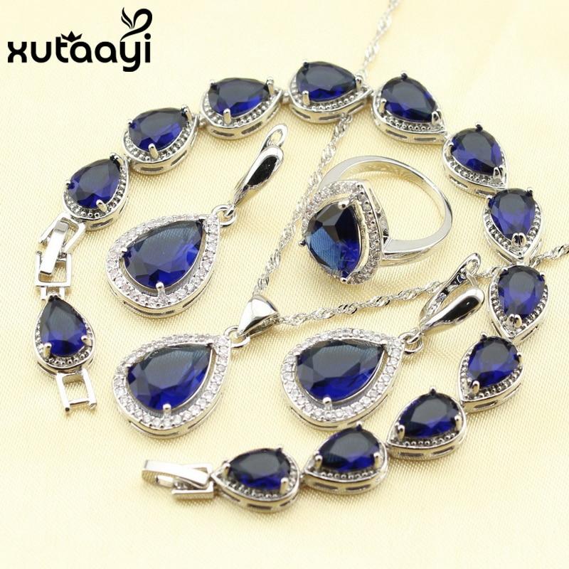 925 Silver Water Drop Wedding Jewelry Set For Women Blue Cubic Zirconia White Stones Bracelet Earrings Necklace Pendant Rings